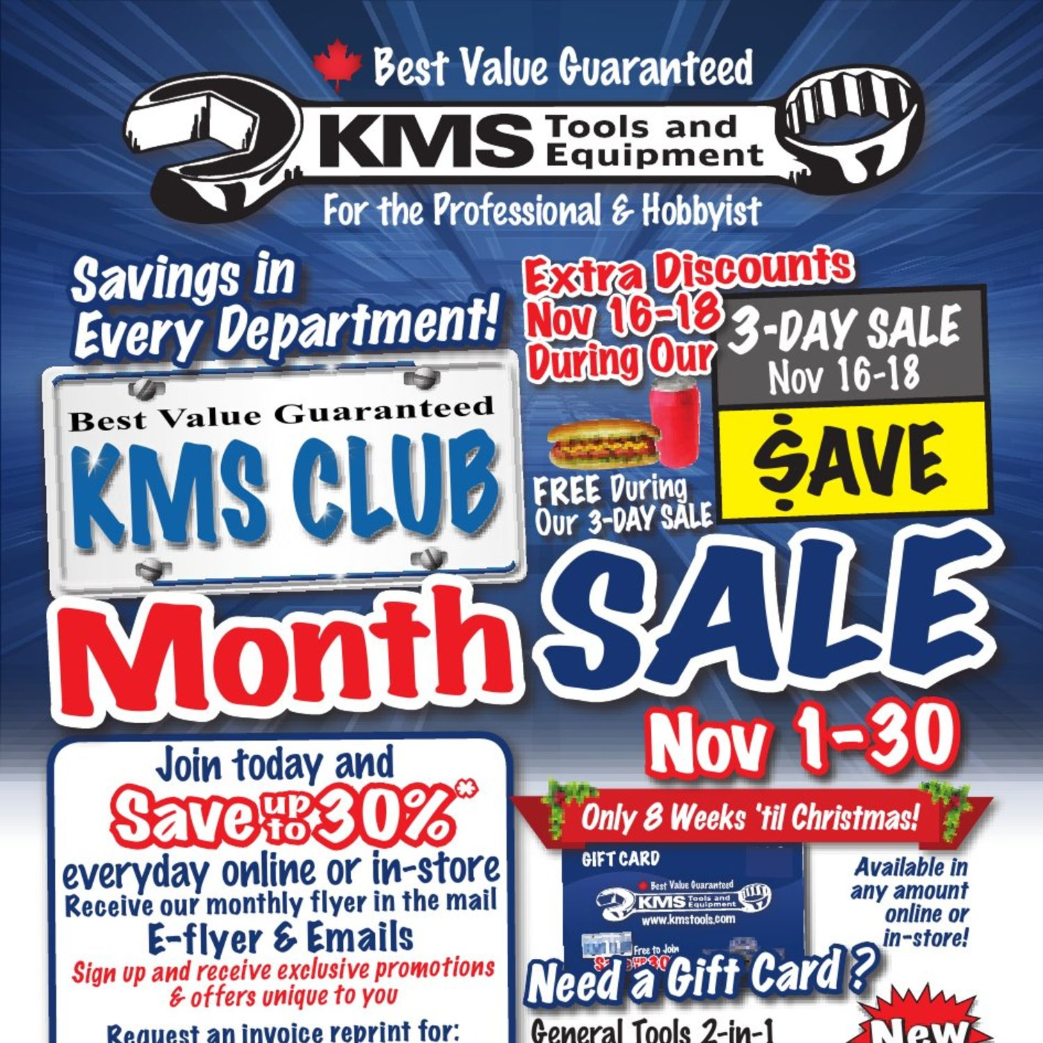 KMS Tools Weekly Flyer KMS Club Month Sale Nov 1 – 30