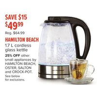 Hamilton Beach 1.7 L Cordless Glass Kettle
