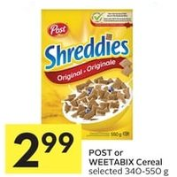 Post Or Weetabix Cereal