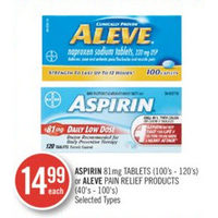 Aspirin 81mg Tablets Or Aleve Pain Relief Products