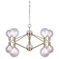 Canarm 10-Light, Gold Chandelier, Clear and Frosted Glass