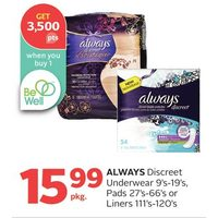 Always Discreet Underwear, Pads Or Liners