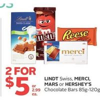 Lindt Swiss, Merci, Mars Or Hershey's Chocolate Bars