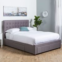 Lingo Grey Fabric, Storage Bed Frame - Queen