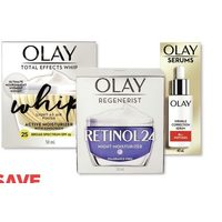 Olay Whip, Retinol24 or Total Effects Skin Care, Serums or Premium Cleansers