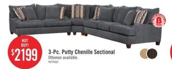 The Brick Putty Chenille Sectional Redflagdeals Com
