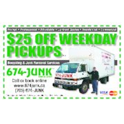 Save $25.00 Weekday Pickups With Coupon