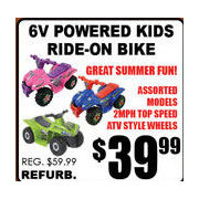 6V Powered Kids Ride-on Bike - $39.99