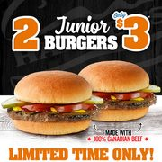 Harvey's: Get Two Junior Burgers for $3.00