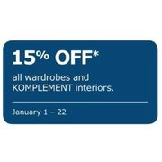 All Wardrobes And Komplement Interiors  - 15% off