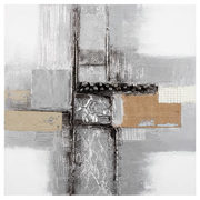 Abstract Oil Painted Canvas With Metal Embellishments - $48.99 ($21.00 Off)