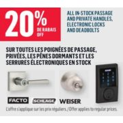 20% Off All In-Stock Passage And Private Handles, Electronic Locks And Deadbolts