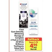 Crest Gum Detoxify Whitening Therapy Or Complete 2-Pack Or Crest 3D White Brilliance Toothpaste - $4.96 ($1.72 off)