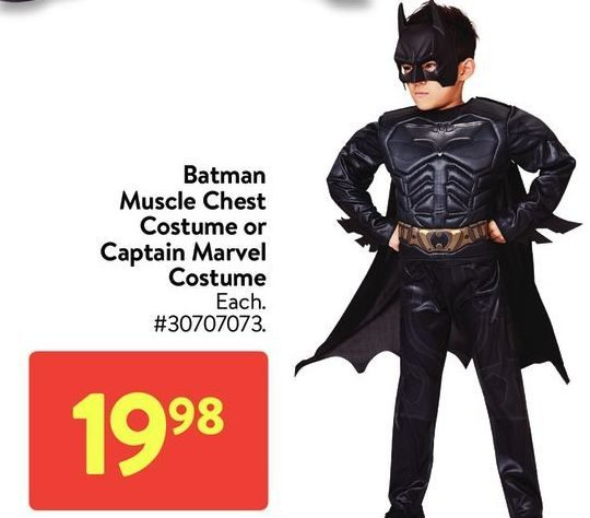 Walmart Batman Muscle Chest Costume Or Captain Marvel Costume Redflagdeals Com A wide variety of captain marvel costume options are available to you, such as supply type, costumes type, and holiday. red flag deals