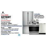 "GE 33"" Wide Refrigerator, Self-Cleaning Range, Dishwasher & 10-piece Cookware Set - $2749.97 ($900.00 off)"